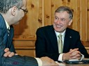 Bundespräsident Horst Köhler (l.) und Andreas Braun in Brackenheims Heuss-Stüble zum Interview.